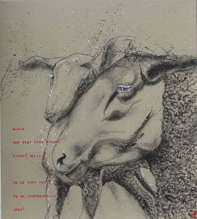 N°11- 100x99cm - dessin encre de Chine sur toile, écriture acrylique - mars 2015 - 800 €.