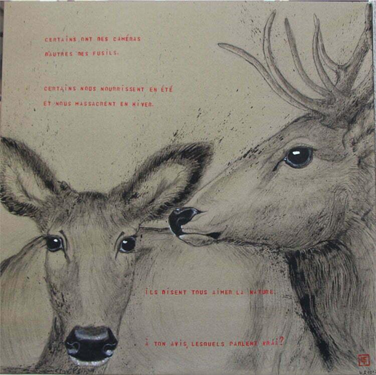 N°20 - 100x100cm - dessin encre de Chine sur toile, écriture acrylique - avril 2016 - 800 €.