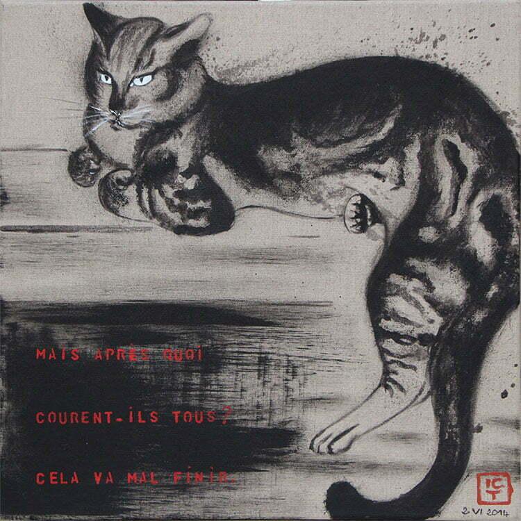 N°4 - 50x50cm - dessin encre de Chine sur toile, écriture acrylique - juin 2014 - 500 €.