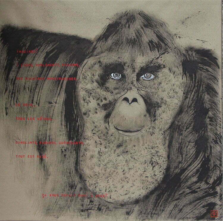 N°8 - 100x100cm dessin encre de Chine sur toile, écriture acrylique - janvier 2015 - 800 €.
